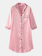 Plus Size Women Ice Silk Chest Pocket 3/4 Sleeve Shirt Cozy Nightdress With Contrast Binding - Pink