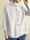 Solid Color Casual Long Sleeve Irregular Shirt For Women - White