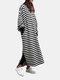 Casual O-neck Overhead Split Hem Long Sleeve Maxi Dress With Side Pockets - Striped