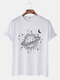 Mens Planet Pattern Print Solid Casual Loose Light O-Neck T-Shirts - White