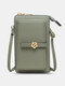 Casual Precision Suture 9 Cards Slots 6.8 Inch Phone Bag Touch Screen Simple Long Crossbody Bag - Green