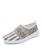 Women Star Stripe Print Mesh Fabric Breathable Lightweight Casual Slip On Sneakers - Gray