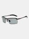 Men Metal Square Half Frame Smart Color-changing Polarized Anti-UV Sunglasses - #03