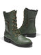 Women Large Size Solid Color Side Zipper Lace Up Mid-Calf Boots - Green