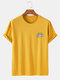 Mens Solid Color Rainbow Print Breathable & Thin O-Neck T-Shirts - Yellow