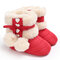 Baby Toddler Shoes Cute Lace-up Fluffy Ball Decor Comfy Plush Warm Soft Snow Boots - Red