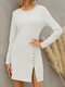 Solid Long Sleeve Split O-neck Button Casual Dress - White