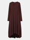 Solid Color Long Sleeve O-neck High-lowHem Casual Dress - Wine Red