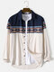 Mens Ethnic Geo Pattern Patchwork Lapel Casual Long Sleeve Shirts - Apricot