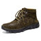 Men Hand Stitching Outdoor Work Style Microfiber Leather Boots - Army Green