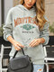 Letters Print Pocket Long Sleeve Casual Hoodie For Women - Gray