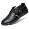 Men Microfiber Leather Printed Lace Up Comfy Casual Leather Shoes