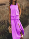 Solid Color Splited Sleeveless Casual Maxi Dress For Women - Light Purple