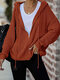 Casual Solid Color Knit Drawstring Hooded Cardigan - Red
