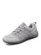 Women Casual Stripe Ribbon Non-slip And Wear-resistant Outdoors Sports Sneakers - Light Gray