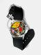 Casual Watercolor Women Wrist Watch PVC Band Leaf Bird Fruit Pattern Men Quartz Watch - #06