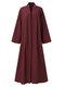 Cárdigan informal de manga larga con nudo en color liso Plus para Mujer - Vino rojo