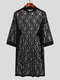 Mens Rose Lace Transparent Flower Pattern Thin Sexy Plain Robs - Black