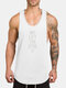 Mens Letter Printed Cotton Breathable Jogging Sport Tank Tops - White