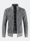 Mens Rhombic Embroidery Knitted Sweater Stand Collar Long Sleeve Coats - Grey