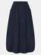 Corduroy Solid Color Elastic Waist Pocket Casual Skirt For Women - Navy