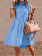 Solid Color Ruffled Collar Sleeveless Casual Pleated Dress - Light Blue