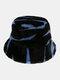 女性と男性のフェルトZebraパターンPlus厚くベルベット暖かい防風Softオールマッチバケットハット - 青