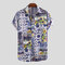 Mens Cotton Linen Ethnic Floral Printed Turn-down Collar Short Sleeve Shirts - Blue