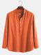 Mens 100% Cotton Ethnic Holiday Loose Stand Collar Henley Shirt - Orange