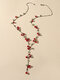 Vintage Cute Small Cherry Alloy Velvet Rope Long Necklace - #01