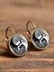 Vintage Glass Dangle Women Earrings Plant Flower Pattern Earrings Jewelry - #08