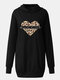 Love Leopard Print Long Sleeve Plus Size Long Hoodie with Pockets - Black