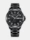 Alloy Steel Band Luminous Business Waterproof Quartz Watch Mens Watch - Black+Black+Silver