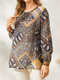 Ethnic Pattern Print Hollow-out Knotted O-neck Tight Cuff Vintage Blouse - Brown