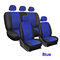 9Pcs/Set PU Leather Car Seat Detachable Covers Front Bucket Full Set Protector - Blue