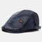Collrown Men Faux Leather Retro Casual Stripe Pattern Solid Color Leather Forward Hat Beret Hat - Blue