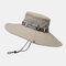 Mens Bucket Hat Outdoor Fishing Hat Climbing Mesh Breathable Sunshade Cap Oversized Brim With String - Beige