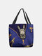 Women Felt Donkey Print Handbag Shoulder Bag Tote - Blue