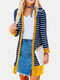 Striped Long Sleeve Patchwork Coat For Women - Yellow