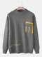 Mens Pocket Designer Stylish Crew Neck Casual Knitted Pullover Sweater - Gray