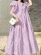 Einfarbig Short Puff Sleeve Plissee Casual Loose Kleid - lila
