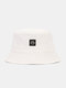 Women & Men Smile Embroidery Pattern All-match Outdoor Casual Sunshade Bucket Hat - White