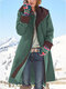 Contrast Color Long Sleeve Hooded Patchwork Coat For Women - Green