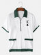 Mens Poker K Embroidered Zip Contrast Short Sleeve Towelling Golf Shirts - White