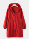 Plain Drawstring Knotted Pocket Plus Size Hooded Jacket - Red