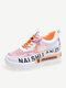 Women Casual Lace-up Mesh Breathable Light Weight Running Shoes - Orange