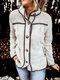 Patchwork Plush Long Sleeve Solid Color Casual Jacket For Women - Beige