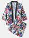 Mens Cartoon Comics Print Open Front Kimono Japanese Style Two Pieces Outfits - Multi Color