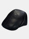 Men Genuine Leather Ear Protection Keep Warm Flat Cap Outdoor Windproof Forward Hat Beret Hat - Black