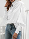 Pile Collar Bubble Sleeve Solid Color Blouse for Women - White